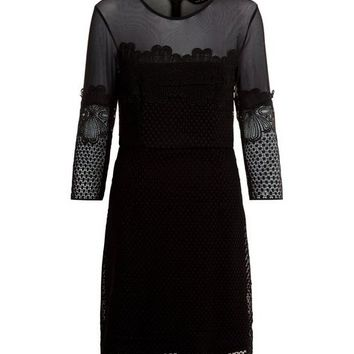 Black Mesh Lace Trim 3/4 Sleeve Mini Dress