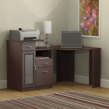 Medium Wood Finish Corner Computer Desk with Printer Shelf