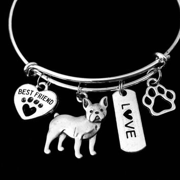 French Bulldog Dog Expandable Charm Bracelet Silver Adjustable Wire Bangle Gift Best Friend Paw Print Pet Animal Lover Jewelry Gift