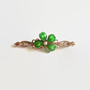 Clover Pin, Art Deco Era Victorian Revival, Green Enamel Four Leaf Clover Bar Brooch with Faux Pearl Center, St. Patrick's Day!