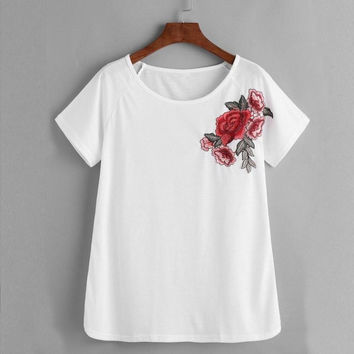 Women t shirt short sleeve Fashion   Rose Embroidered White T-shirt O Neck Tops Tees poleras de mujer #421 GS