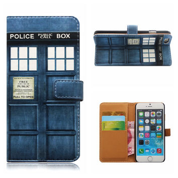 Doctor Who Tardis PU Leather Cell Phone Case/Wallet For iPhone 6/S 5/5S 6PLUS