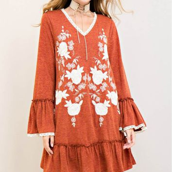 Solid Dropwaist Embroidery Dress
