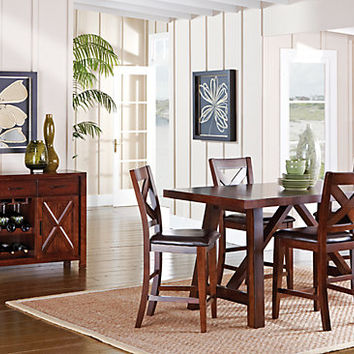 Mango Burnished Walnut 5 Pc Counter Height Dining Room - Dining Room Sets Dark Wood