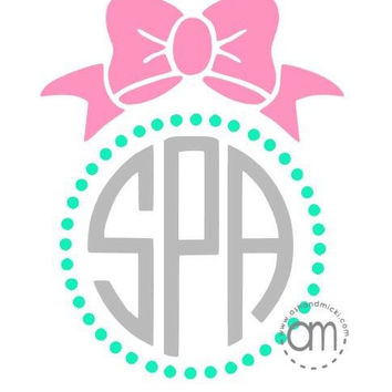 Pearls and Bow Monogram Decal