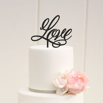 """Love"" Cursive Wedding Cake Topper"