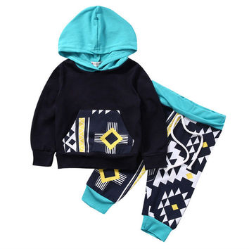 2017 New Fashion Kids Clothes Infant Baby Boy Girl Long Sleeve Hoody Sweatshirt Tops Pant 2PCS Outfit Newborn Tracksuit 0-18M