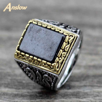 Anslow Brand Vintage Big Engagement Wedding Men Ring Jewelry Mens Signet Rings Black Natural Stone Finger Ring Men LOW0067AR