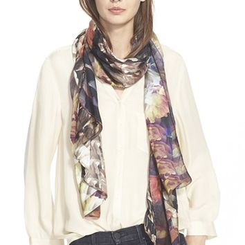 Women's Ted Baker London 'Technicolour Bloom' Silk Scarf - Black