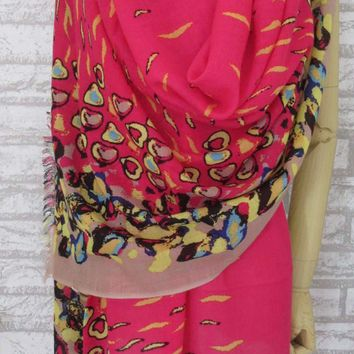 """NEW Pink&Brown 100% WOOL Long Scarf Shawl Extra Large Winter 79""""×27"""" SQ921"""