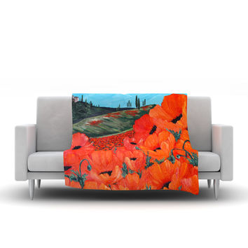 "Christen Treat ""Poppies"" Fleece Throw Blanket"