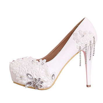 CLOCOLOR Women's Beaded Lace High Heel Wedding Shoes Platform Prom Party Pumps