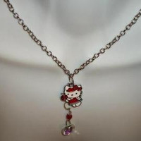 Red Hello Kitty Lollipop Heart Necklace