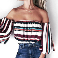 Sexy off shoulder striped blouse shirt Summer flare sleeve cool blouse women top Casual soft streetwear femme blusas