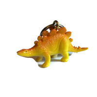 Dinosaur keyring key chain bag charm upcycled repurposed vintage toy gift YELLOW