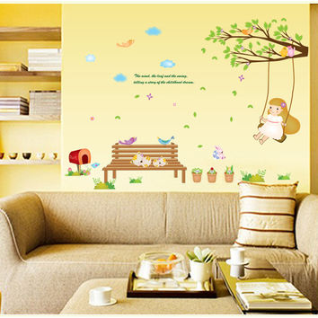 Swing girl children room of household adornment wall stickers on the wall SM6
