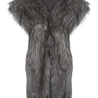 Grey Faux Fur Stole - Miss Selfridge