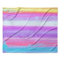 "Nina May ""Drip Dye Warm"" Purple Orange Fleece Throw Blanket"