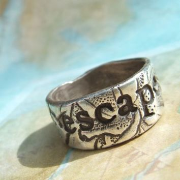 ESCAPE or EXPLORE Personalized Custom Ring Thick by HappyGoLicky