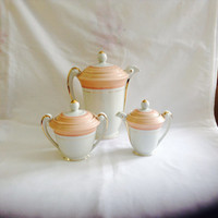 French Vintage Coffee/Tea Pot Creamer Sugar Bowl SA Limoges Porcelain Gilded Art Deco Style
