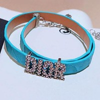 DIOR Fashionable Ladies Leather Letter Diamond Hand Catenary Bracelet Necklace Accessories Jewelry Blue