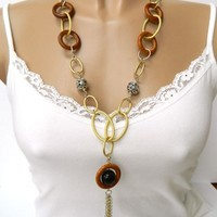 Long Chunky Necklace Gold and Silver Bead Tassel Handmade | DoubleSJewelry - Jewelry on ArtFire