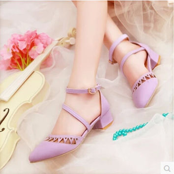 Women new fashion spring Summer candy vintage cutout low 4cm thick heel sandals pointed toe buckle shoes large plus size 40-43