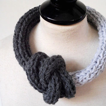 Knit necklace Yarn jewelry Statement necklace Unique necklace Knot necklace Yarn necklace Fabric jewelry Rope jewelry Unusual necklace scarf