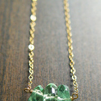Fluorite Nugget Trio Necklace, 14k Gold Filled