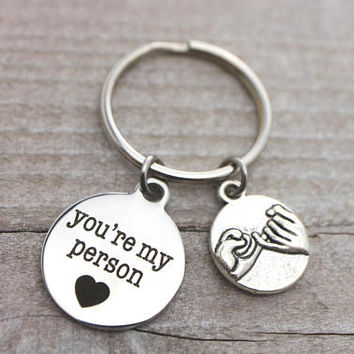 You're my person, promise antique silver key ring