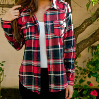 Red Plaid Button Up Flannel – Gold Soul