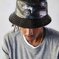Stussy Croc Faux-Leather Bucket Hat- Black
