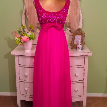 60s Pink Evening Gown, 1960s Velvet Chiffon Dress, Formal Opera Dress, After Wedding, Maid of Honor Dress, Long Party Dress, Fuchsia Dress
