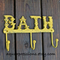 Wall Hook/ Yellow/ Bath Towel/ Robe Wall Hook/ Shabby chic/ Bathroom Fixture/ Cottage Chic/ Coastal Home/ French Country