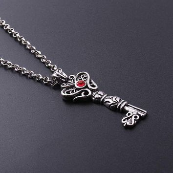 Cool Vintage Key Stars Flower Pattern Pendants Necklaces Red Crystal Key Shape Necklace For Men Punk Viking Jewelry