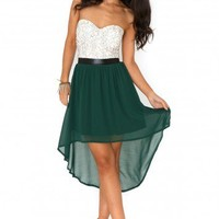 Missguided - Marle Bandeau Lace Asymmetric Dress In Deep Green