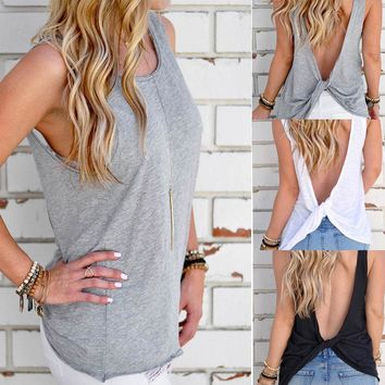 Women Solid Twist Backless Blouse Sexy Sleeveless T Shirt Blouse Lady Tank Tops