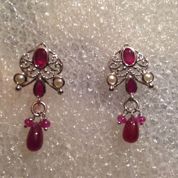 Nemesis Vintage Handmade Sterling Silver Deep Pink Ruby Earrings