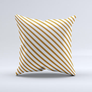 Brown & White Striped Pattern Ink-Fuzed Decorative Throw Pillow