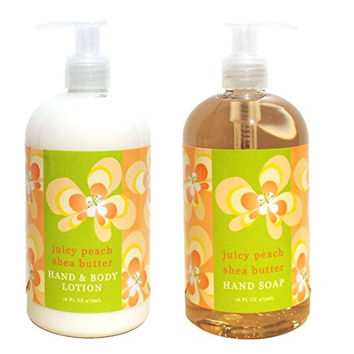 Greenwich Bay Juicy Peach Shea Butter Hand & Body Lotion and Juicy Peach Shea Butter Hand Soap Duo Set Enriched with Cocoa Butter 16 oz each