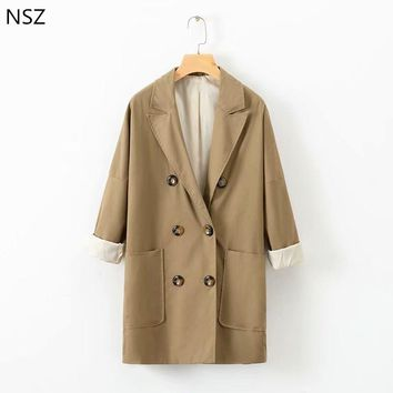 NSZ Women Coat Autumn Casual Loose Jacket Long Sleeve Double Breasted Outerwear Coat
