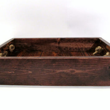 Rustic Wooden Serving Tray with Rope Handles - Handmade Stained Wood Centerpiece Tray