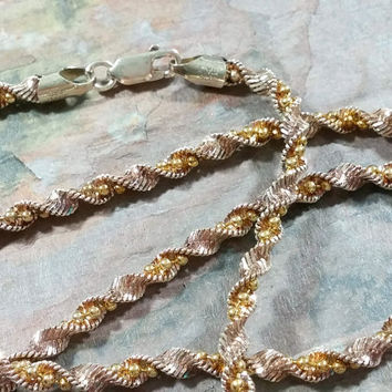 Two Tone Sterling Silver Singapore Twist Twisted Herringbone + Ball Chain 20 Inch Necklace Chain Silver Gold Vermeil 925 Italy Quality Made