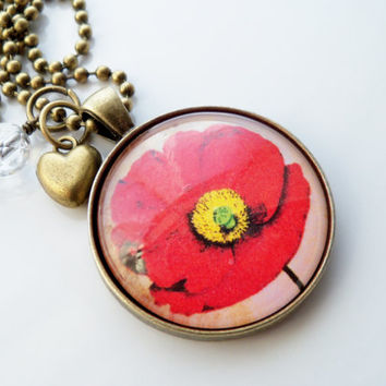 Poppy Necklace - Flower Pendant - Red Poppy Jewelry - You Choose Bead and Charm - Custom Jewelry - Art Jewelry - Remembrance Day