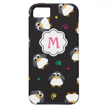 Cute Penguins Pattern with Monogram iPhone 5 Case