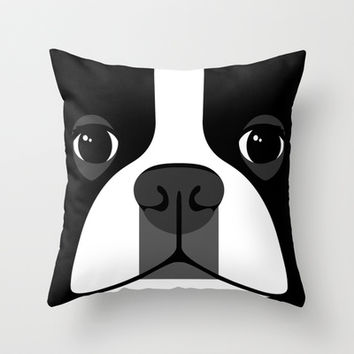 Boston Terrier Close Up Throw Pillow by Anne Was Here