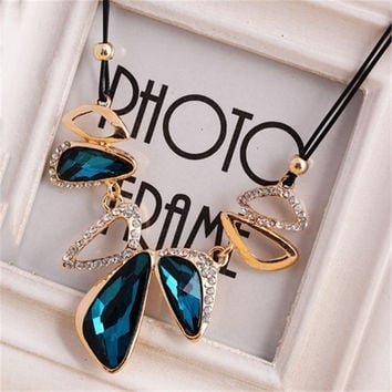Gem Crystal Pendants Leather Rope Necklaces Women Jewelry