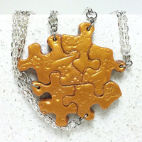Puzzle Piece Necklace Set of 5 Bridesmaid or Best Friend  Bright Gold Polymer Clay Cherry Blossom