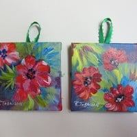 You Pick 2 Christmas Ornaments Sets, 3 CHOICES Original 3x3 inch Original Acrylic canvases