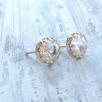 Gold Earrings, Crystal Stud Earring..